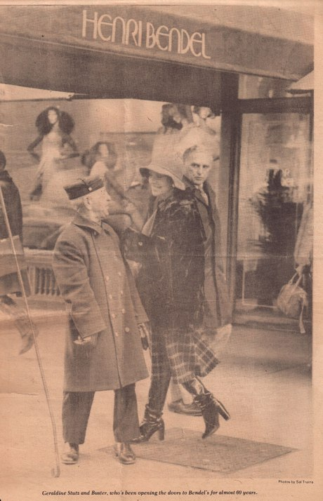 Geraldine Stutz and Buster, who's been opening doors to Bendel's for almost 60 years. (Women's Wear Daily, 1974)